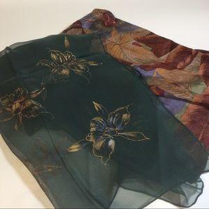2 Liz Claiborne Silk & Hand Painted Orchid Scarf
